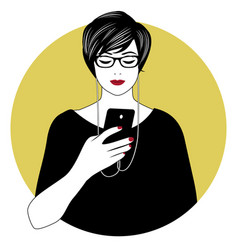 woman with glasses and headphones using her vector image