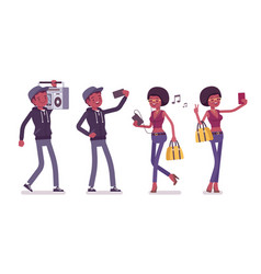 young black man and woman with gadgets and boombox vector image