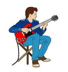 Young man with his electric guitar vector