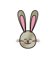 drawing cute head rabbit easter symbol vector image