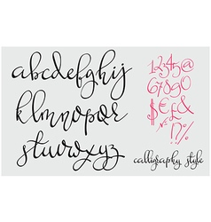 Handwritten pointed pen flourish font vector image vector image