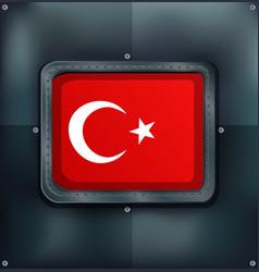 turkey flag on metalic background vector image