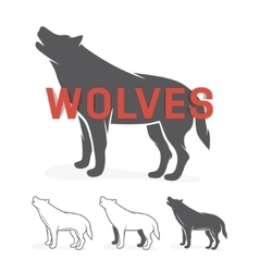 Grey wolf silhouette logo or label vector image