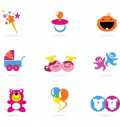 kids icons playing and toys vector image