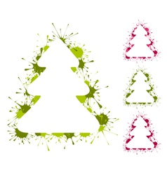 Set of Christmas trees backgrounds with splashes vector image vector image