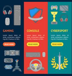 cartoon cyber sport banner vecrtical set vector image vector image