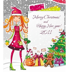 christmas fashion girl 1 vector image