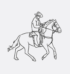 cowboy riding horse sketches vector image vector image
