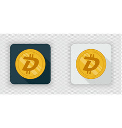 light and dark digibyte crypto currency icon vector image