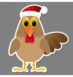 Rooster in Santa hat isolated on grey background vector image vector image