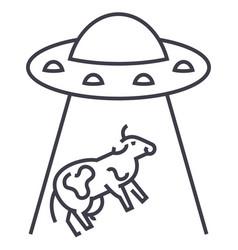 ufo invasion cow line icon sign vector image