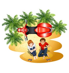 A topview of a boy and a girl near the motorcycle vector image