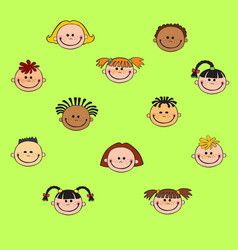 cartoon child face icon vector image