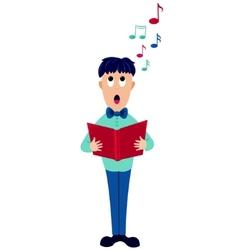 cartoon singer boy vector image