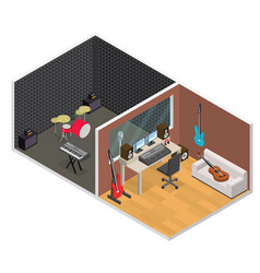 interior recording studio isometric view vector image vector image