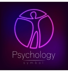 Neon Logo Modern man Sign of Psychology Human in vector image vector image