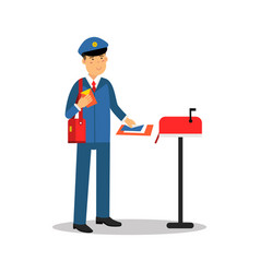 postman in blue uniform putting letters in mailbox vector image
