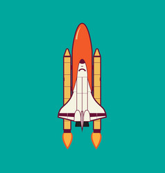 space shuttle launch with vintage vector image vector image
