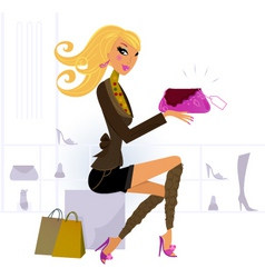 woman buying bag in mall vector image vector image