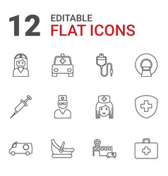 12 clinic icons vector image
