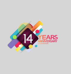 14 years anniversary colorful design with circle vector