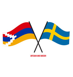 Artsakh and sweden flags crossed and waving flat vector