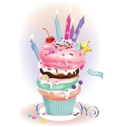 Birthday Dessert with candles vector image