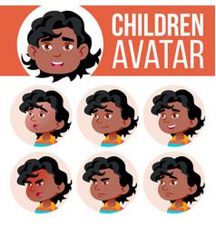 black afro american boy avatar set kid vector image