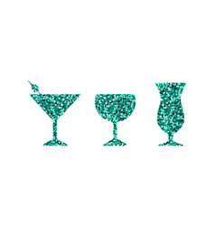 blue abstract cocktail icons vector image