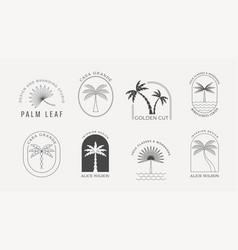 bohemian linear logos with palms beach ocean vector image