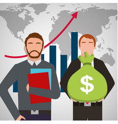 Businessmen holding folder and bag money statistic vector