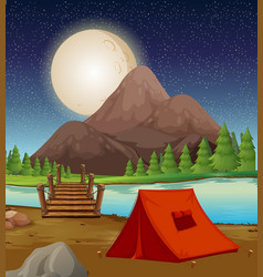 Camping ground with tent by the river at night vector