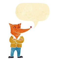 Cartoon fox in shirt with speech bubble vector