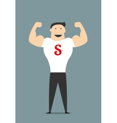 Cartooned flat businessman showing bicepses vector image