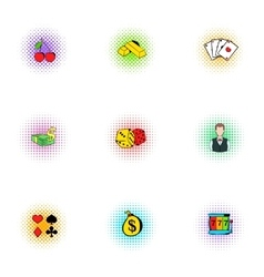 Casino game icons set pop-art style vector