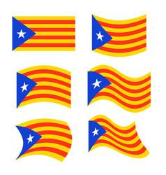 catalonia flag set estelada blava banner ribbon vector image