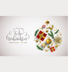 christmas new year german card gold xmas bauble vector image
