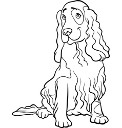 cocker spaniel dog cartoon for coloring book vector image