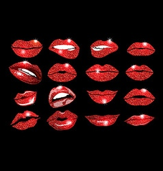 Collage lips Lips red set Design glitter element vector
