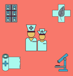 collection of icons and medical tools vector image vector image
