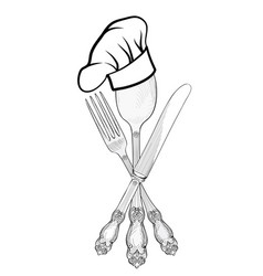 Cook hat spoon fork knife label cutlery sign vector