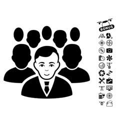 Crowd Icon With Copter Tools Bonus vector image