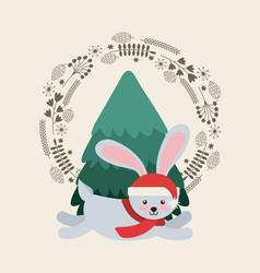 cute animal christmas celebration card vector image
