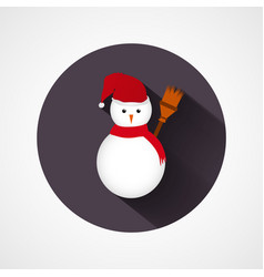 cute snowman character in red scarf icon vector image