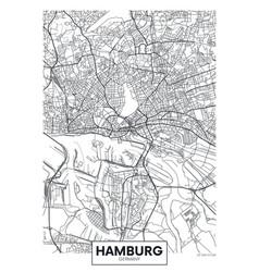 Detailed poster city map hamburg vector