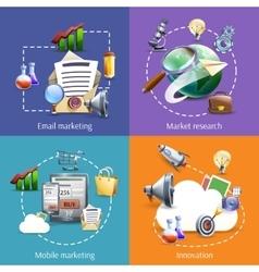 Digital marketing 4 flat icons square vector image
