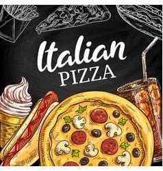 fast food italian pizza menu sketch vector image