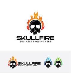 Fire skull logo symbol d vector