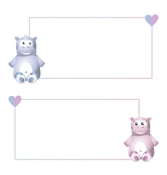 Frame with hippo vector image