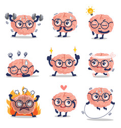 Funny brain cute training and many action vector